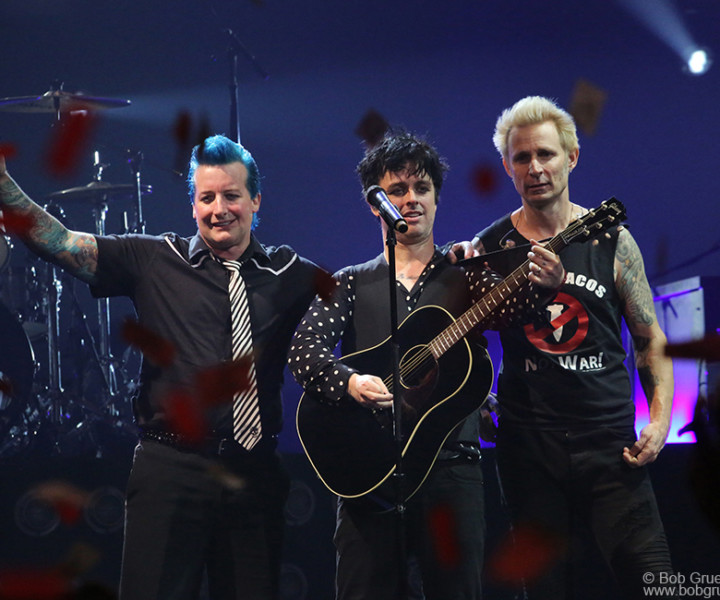 March 15 – Brooklyn – Tre Cool, Billie Joe Armstrong and Mike Dirnt of Green Day on stage at Barclays Center.