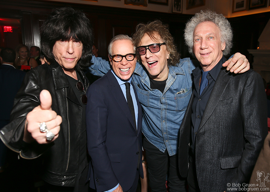 """Nov 1 – NYC – Edition Hotel – Marky Ramone, Tommy Hilfiger, Mick Rock and Bob Gruen at the party for Tommy's book """"American Dreamer: My Life In Fashion And Business"""" . Photo by David X Prutting."""