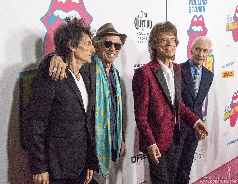 Nov 15 – NYC – Ron Wood, Keith Richards, Mick Jagger and Charlie Watts came to the opening of the Exhibitionism exhibit at Industria Studios.