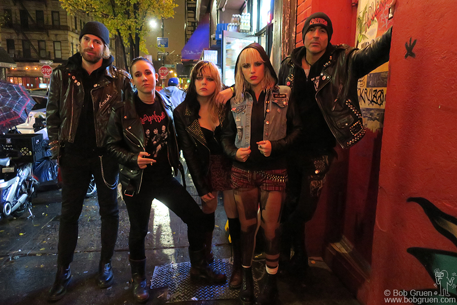 Nov 30 – NYC – Krash Doll, Voodoo Doll, JayJay Doll, Isis Queen and Pyn Doll of the Barb Wire Dolls outside of Arlene's Grocery on Stanton Street.