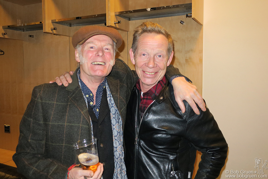 Dec 1 – NYC – Drummers Martin Chambers of the Pretenders and Paul Cook of the Sex Pistols backstage at MSG after the Pretenders show there.