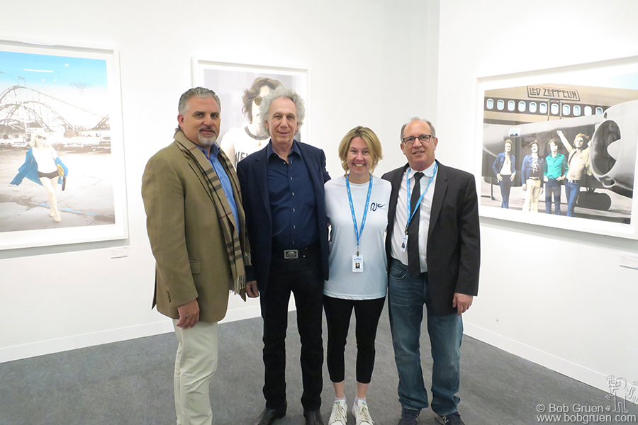 May 6 – NYC – Nick Korniloff, Bob Gruen, Melissa Marr and Gary Lichtenstein during the Perry J. Cohen Foundation benefit at Art New York on Pier 94 where we showed the silkscreen prints of my work that Gary made.