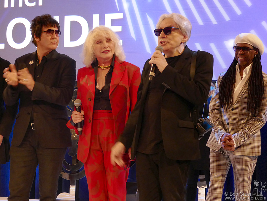 "June 30 – London – Clem Burke, Debbie Harry and Chris Stein of Blondie received the ""Amazon Outstanding Achievement Award"" presented by Nile Rodgers (on the right) at the Nordoff-Robbins charity luncheon at the Grosvenor House Hotel."