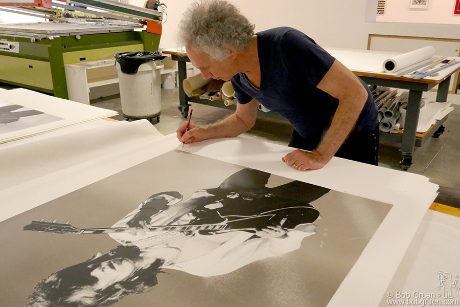 Aug 22 – Jersey City – I've made a new silk screen edition with Gary Lichtenstein at his studio in Jersey City. This one is Keith Richards. A new series of smaller silkscreen prints should be ready soon.