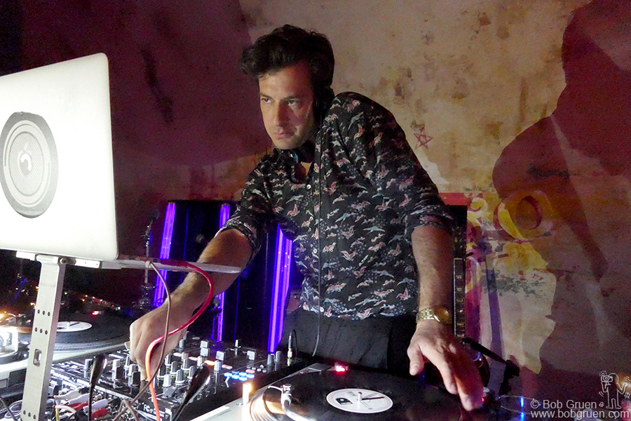 Sept 7 – NYC – Mark Ronson was hard at work as DJ at the Roxy Hotel. He really works the control panel as he plays records, using tone and volume to change the mood of the music.