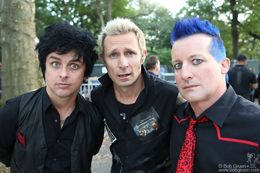 Sept 23 – NYC – Billie Joe Armstrong, Mike Dirnt and Tre Cool of Green Day ready to go onstage at the Global Citizens Festival in Central Park.