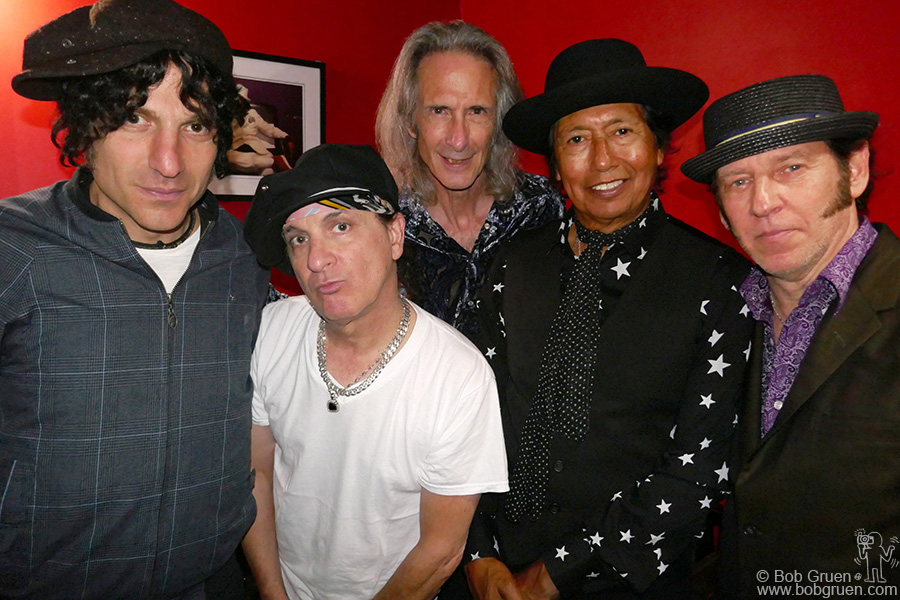 Sept 28 – NYC – Jesse Malin, Syl Sylvain, Lenny Kaye, Alejandro Escovedo and Kenny Aaronson backstage at Bowery Electric for a New York Dolls tribute show.