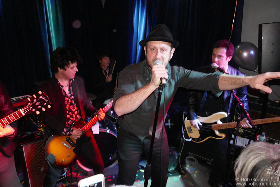 Dec 31 – NYC – (L-R) Billie Joe Armstrong of Green Day, Clem Burke of Blondie, Kris Gruen and Johnny Pisano on stage at Berlin on New Years Eve.