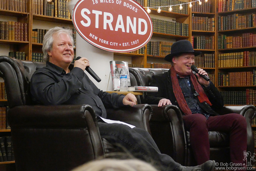 "Jan 25 – NYC – Chris Frantz of Talking Heads and Richard Lloyd of Television during Richard's ""Everything Is Combustible"" book reading at the Strand bookstore."