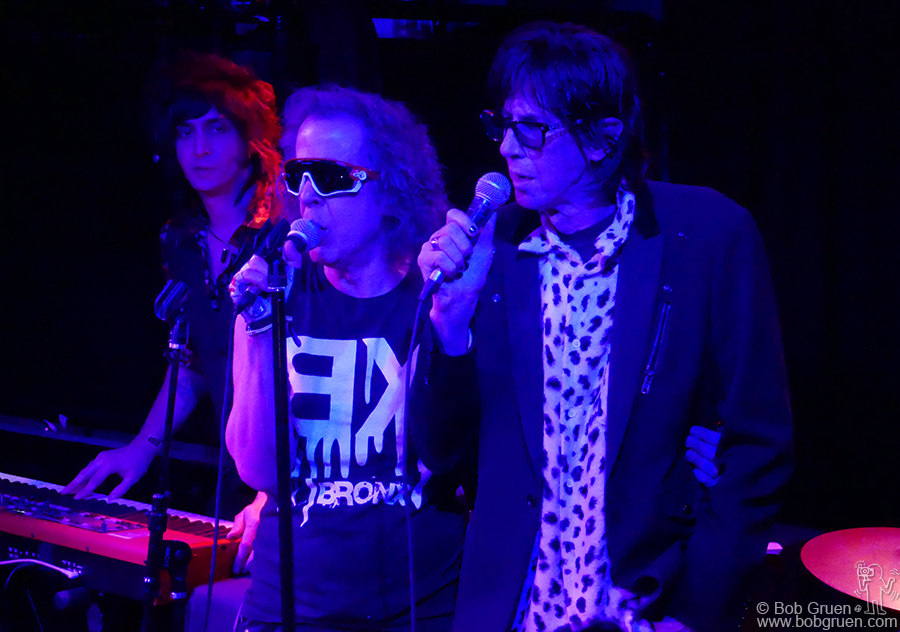 Jan 25 – NYC – (L-R) Gregg Foreman of Delta 72's, Martin Rev of Suicide and Ric Ocasek of the Cars on stage during the Alan Vega tribute show at Bowery Electric organized by Gregg.