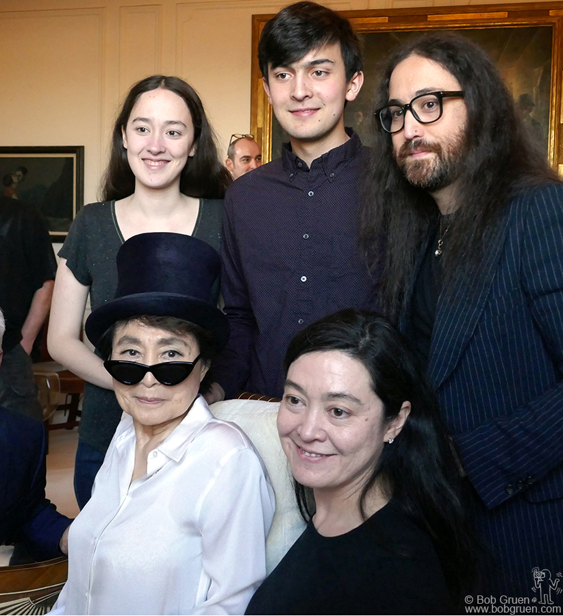 Feb 18 – NYC – Yoko Ono with (back row) her grandkids Emi Helfrich, Jack Helfrich and son Sean Lennon. Front row: Yoko and her daughter Kyoko Helfrich during Yoko's 85th birthday party at her apartment in the Dakota Building.