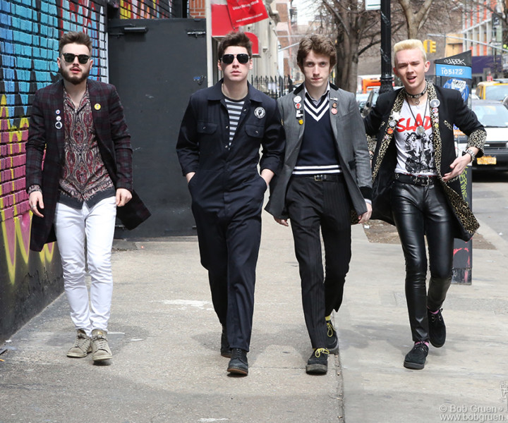 March 27 – NYC – (L-R) Josh McClorey, Ross Farrelly, Pete O'Hanlon and Evan Walsh of The Strypes walking on the streets of the Lower East Side.
