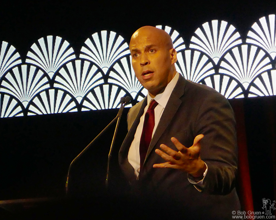 Nov 9 – NYC – Cory Booker speaking on stage during the Brady Anti Gun Campaign gala at Ziegfeld Ballroom.