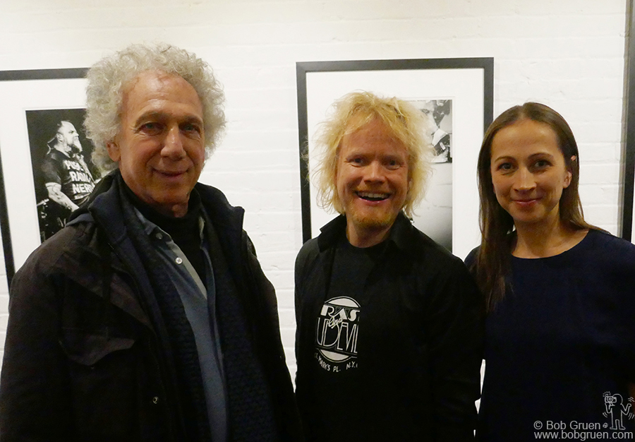 Nov 14 – NYC – (L-R) Bob Gruen, Ville Juurikkala and Caroline Taucher during Ville's exhibition of his photos of the Finnish band HIM at Morrison Hotel Gallery.