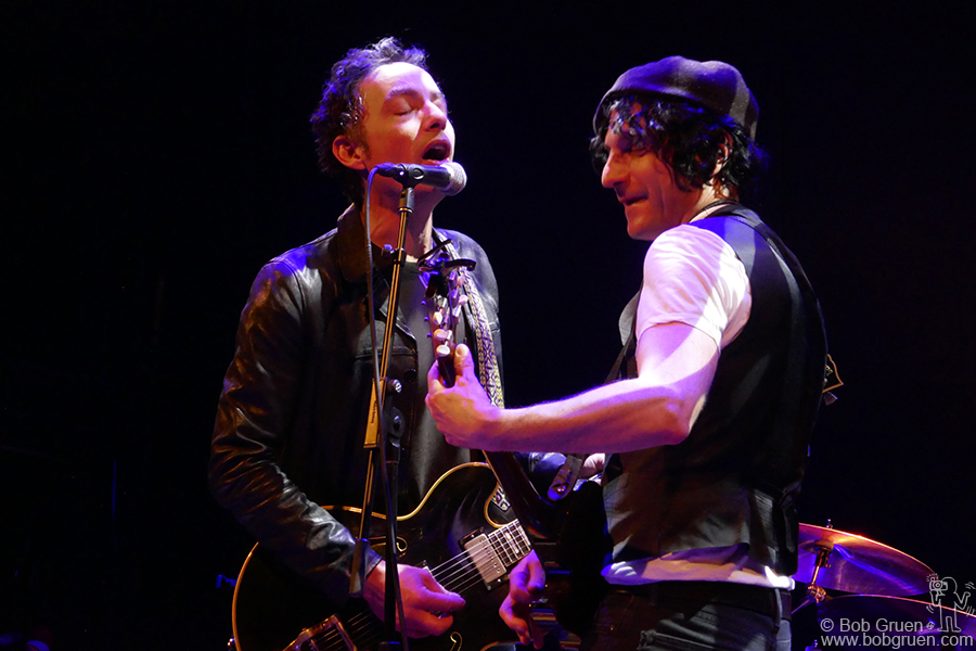 Nov 18 – NYC – Jakob Dylan of the Wallflowers and Jesse Malin on stage for the Connecting to Cure Crohn's and Colitis benefit at the Bowery Ballroom.