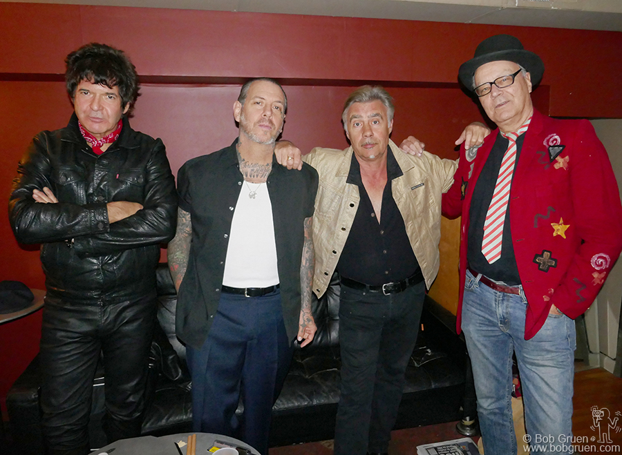 Nov 30 – NYC – (L-R) Clem Burke of Blondie, Mike Ness of Social Distortion, Glen Matlock of the Sex Pistols and Walter Lure of the Heartbreakers backstage at the tribute for the 40th anniversary of the Heartbreakers LAMF album at Bowery Electric.