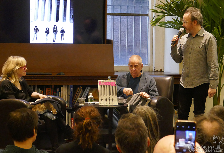 "April 6 – NYC – Curator Dave Brolan introducing Danny Fields and Gillian McCain at the release event for ""My Ramones: Photographs by Danny Fields"" at Rizzoli book store."