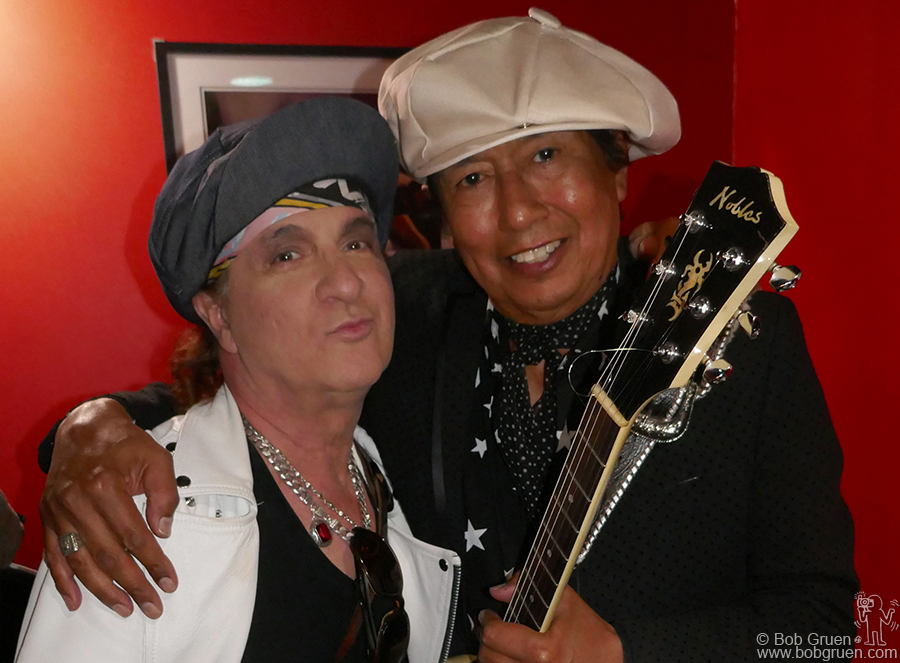 May 17 – NYC – Syl Sylvain and Alejandro Escovedo backstage at their show together at Bowery Electric.