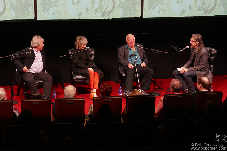 "June 13 – NYC – Chris Franz, Tina Weymouth of the Talking Heads, Seymour Stein and Vice President of the Grammy Foundation, Scott Goldman during a talk about Seymour's new book ""Siren Song: My Life in Music:"" at the Spy Museum, NYC."
