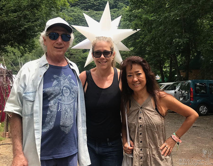 "July 26 – Naeba, Japan – Me and my wife Elizabeth with our friend Yuki Taira Burns at the beginning of the Fuji Rock Festival. I gave a live talk/interview to promote the Japanese edition of my book ""Rock Seen""."
