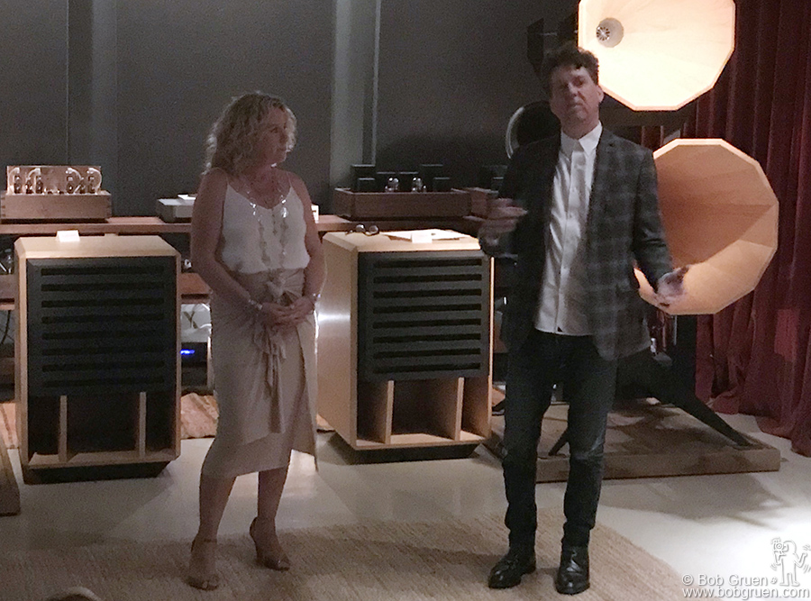 "Aug 9 – Brooklyn – Amy Helm and Producer Joe Henry during Amy's listening party at Oswalds Mill Audio in Brooklyn for her new album, ""This Too Shall Light"""