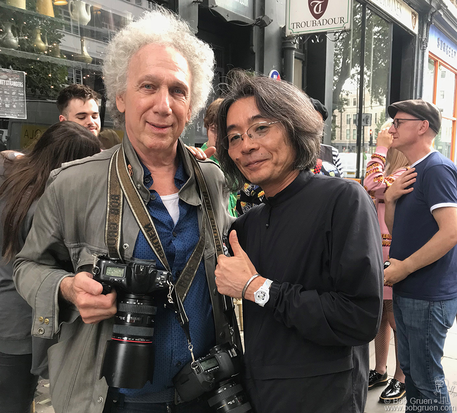 Aug 22 – London – Me and Hysteric Glamour founder Nobu Kitamura after the photo shoot at the legendary Troubadour Club in London, England.