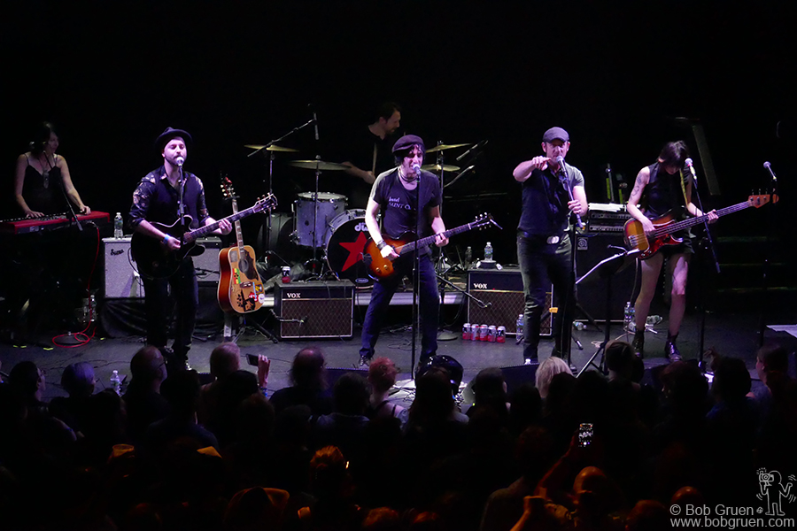 "Aug 25 – NYC – Jesse Malin and my son Kris Gruen on stage during the ""Summer StrummerJam"" at Bowery Ballroom, NYC."