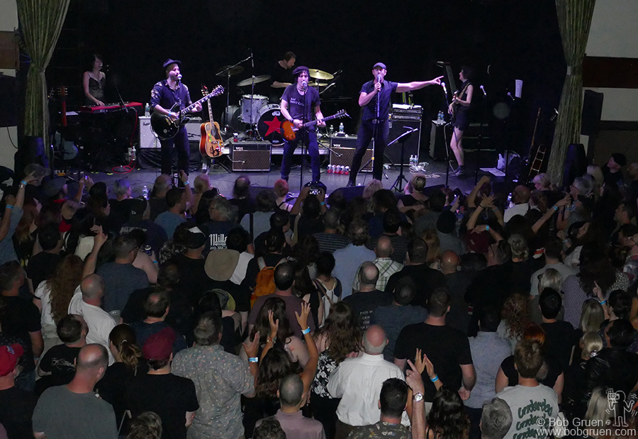 "Jesse Malin and Kris Gruen on stage during the ""Summer StrummerJam"" at Bowery Ballroom, NYC."