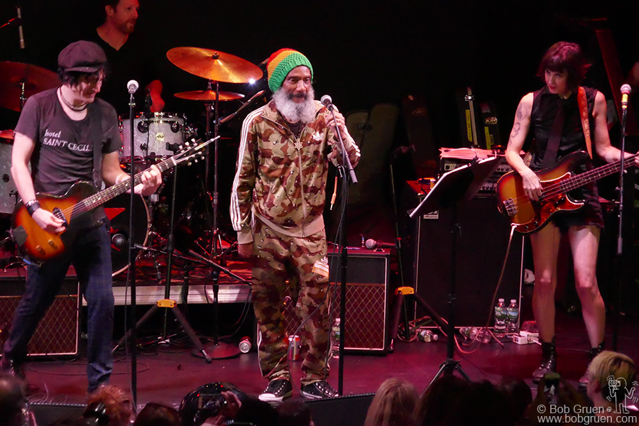 "Aug 25 – NYC – Jesse Malin and HR of Bad Brains on stage during the ""Summer StrummerJam"" at Bowery Ballroom, NYC."
