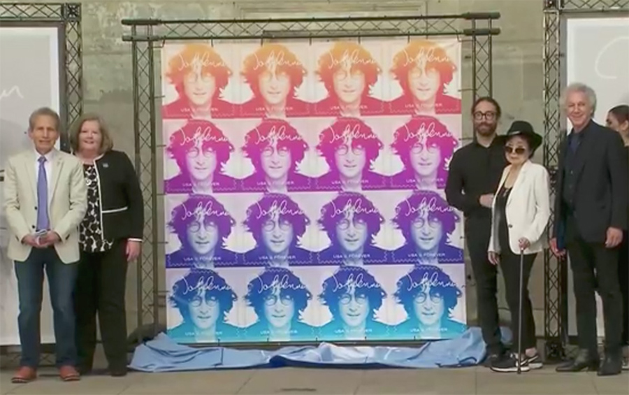 Sept 7 – NYC – Dennis Elsas, Postmaster General Megan J. Brennan, Sean Lennon, Yoko Ono and me during the John Lennon stamp unveiling event at the Naumburg Bandshell in Central Park, NYC. Check out the video of the ceremony at USPS.