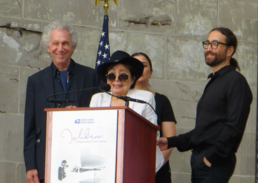 Sept 7 – NYC – I gave a short speech and joined Yoko Ono and Sean Lennon during the John Lennon stamp unveiling event at the Naumburg Bandshell in Central Park, NYC.