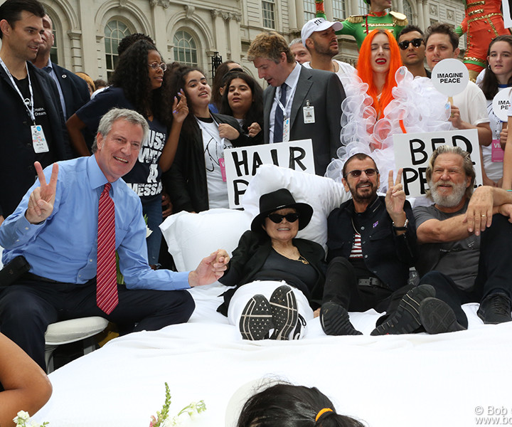 "Sept 13 – NYC – Mayor Bill de Blasio, Yoko Ono, Ringo Starr and Jeff Bridges during the ""Come Together NYC"" event at City Hall, NYC to welcome the John Lennon Educational Bus."