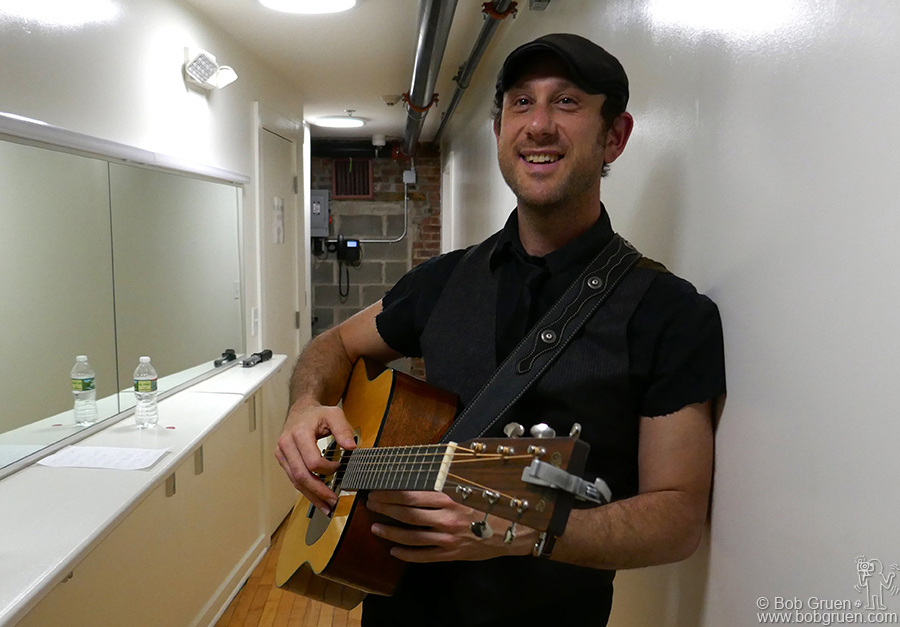 May 4 – Jersey City – My son Kris Gruen backstage at the White Eagle Hall getting ready to open the show for Alejandro Escovedo.