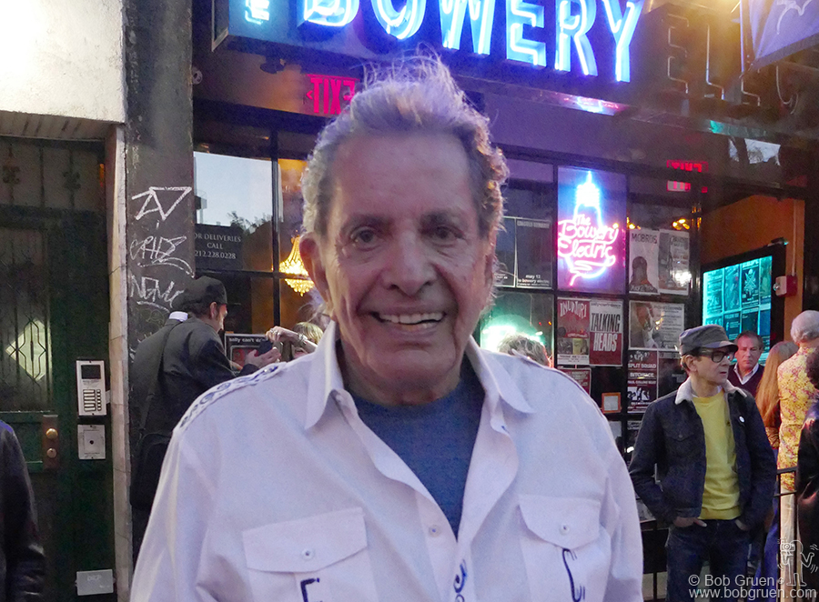 May 9 – NYC – Electric Circus founder and agent extraordinaire Jerry Brandt celebrates his 80th birthday outside at the Bowery Electric.