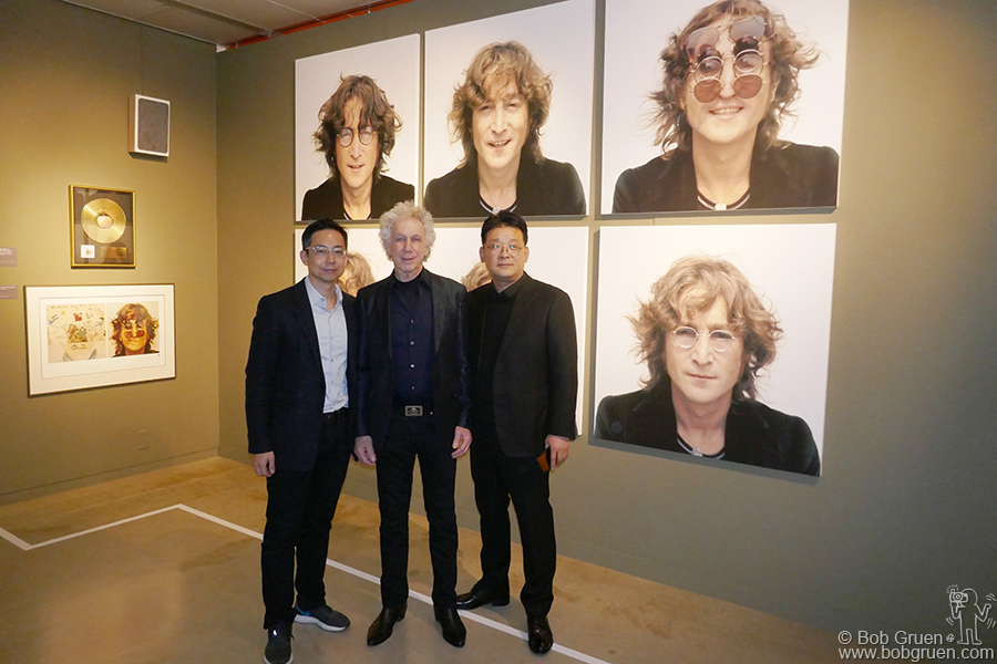 Dec 6 – Seoul – Felix Park, Byun Sun Keun and me at the opening of  the John Lennon exhibit at the Hangaram Art Museum. Mr.Byun sponsored the exhibition organized by Mr Park to bring the ideas of John Lennon to South Korea.