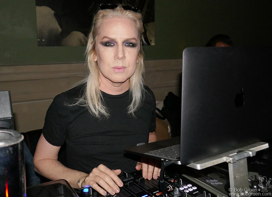 Nov 7 – NYC – Miss Guy DJing spins the records at an after party for a Mick Rock exhibit  at the Roxy Hotel.