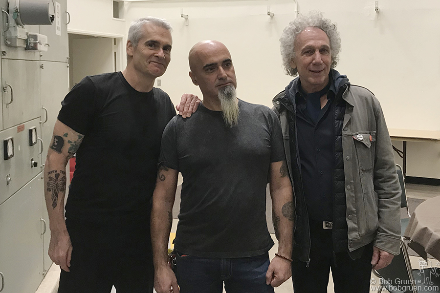Nov 9 – Mesa, AZ – (L-R) Henry Rollins of Black Flag, Indian and me during the Mesa Music Festival at the Mesa Amphitheater. I gave a powerpoint photo talk before Henry gave his talk.