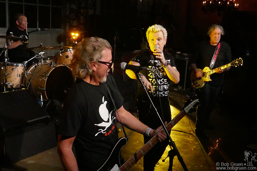 Nov 11 – NYC – (L-R) Paul Cook of the Sex Pistols, Tony James and Billy Idol of Generation X and Steve Jones of the Sex Pistols on stage as 'Generation Sex' during the party at Chrome Hearts. They played some of each bands greatest hits!