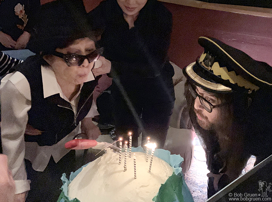 Feb 18 – NYC – Yoko Ono and Sean Lennon blow out the candles for Yoko's 86th birthday party at Electric Lady Studios, NYC.