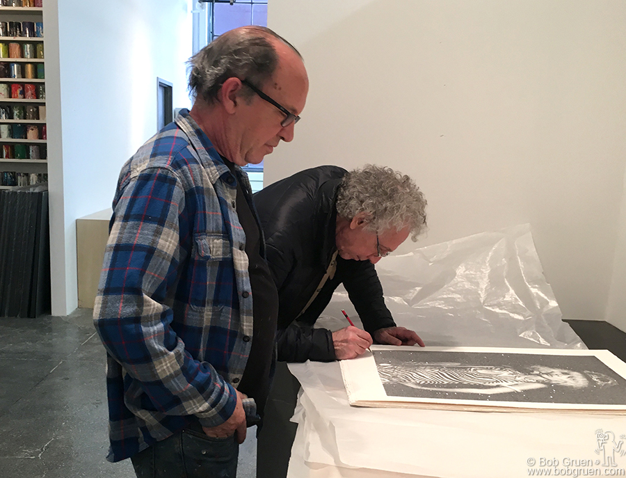 March 5 – Jersey City – Gary Lichtenstein watches as I sign the new Debbie Harry silkscreen that Gary printed in his studio at MANA Contemporary  in Jersey City, NJ.