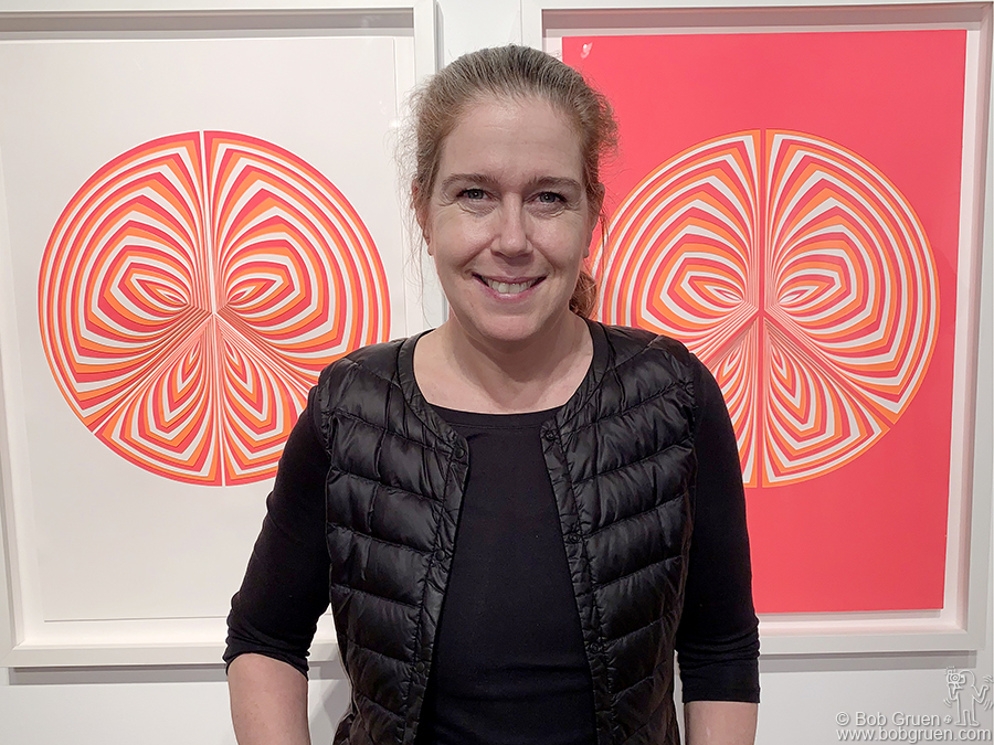 "March 21 – NYC -My wife Elizabeth Gregory-Gruen at the opening of her exhibit ""Cut Work – A Survey 2008-2018"" at Howl Gallery, NYC."