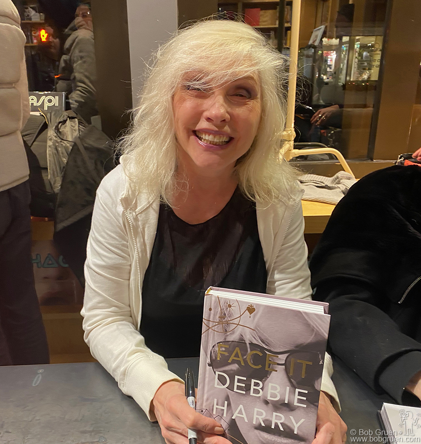 """Dec 5 - NYC - Debbie Harry at the signing event for her book """"Face It"""" at Bookmarc on Bleeker Street."""