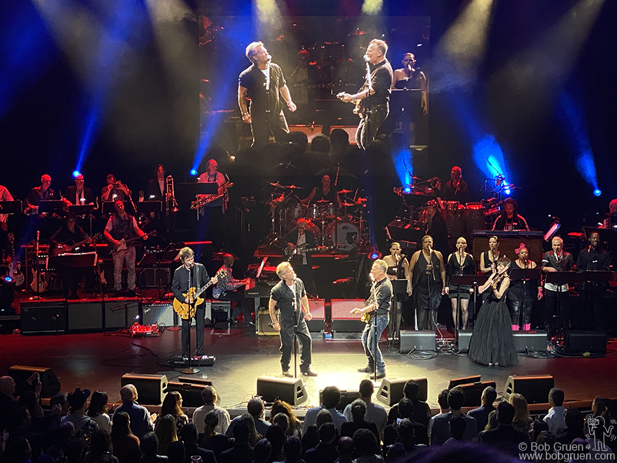 Dec 9 - NYC - John Mellencamp joins Bruce Springsteen on stage during the Rainforest Benefit at Beacon Theatre.