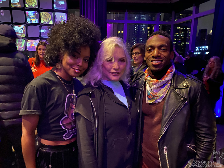 Dec 9 - NYC - Stars of the broadway show Tina! Adrienne Warren and Daniel J. Watts  meet Debbie Harry at the after party for the Rainforest Benefit at the Mandarin Oriental Hotel.