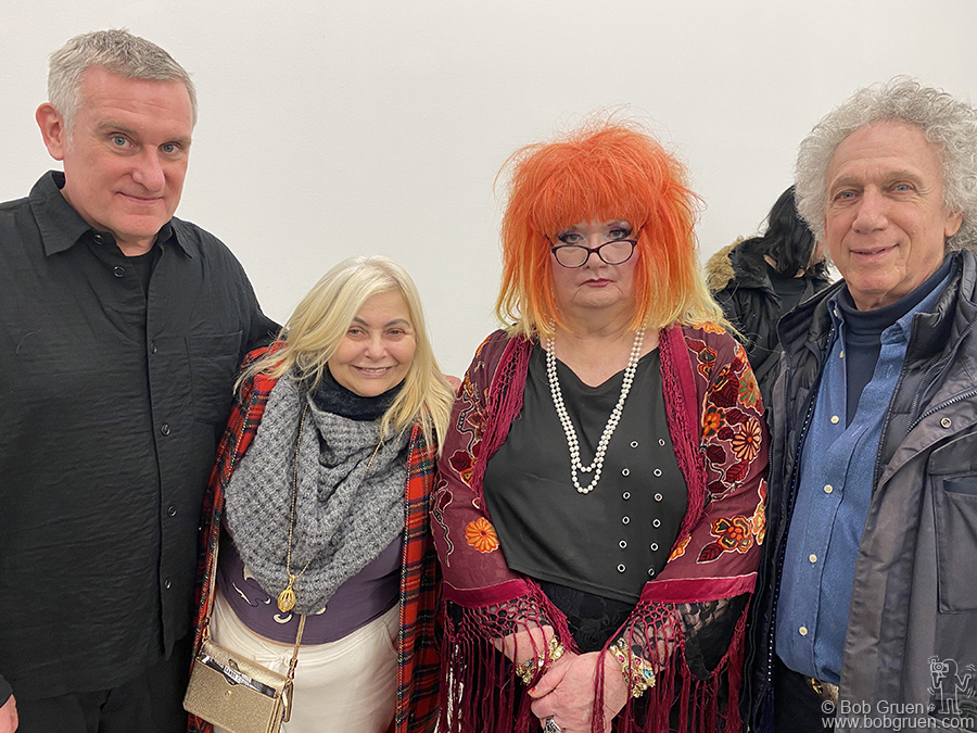 Jan 28 - NYC - (L-R) Michael Fox, Penny Arcade, Jayne County and me at Jayne's exhibit of her original paintings at the Viewing Room.