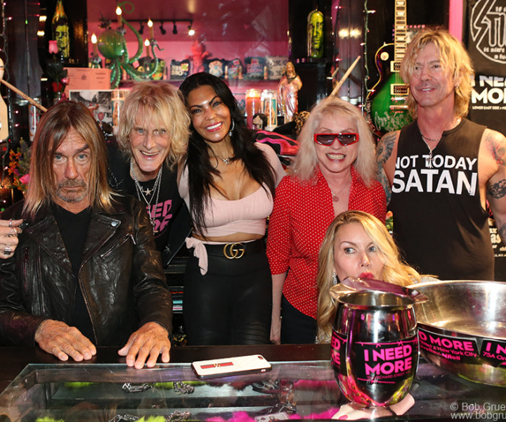 "Feb 24 - NYC - (L-R) Iggy Pop, Jimmy Webb, Iggy's wife Nina Alu, Debbie Harry, Susan Holmes and her husband Duff McKagen of Guns 'N Roses, at Jimmy's store ""I Need More"",  where Iggy and Debbie pressed their hands and feet into concrete squares on the floor of the store for Jimmy. Very sadly Jimmy passed away in April from cancer but this was a great last party. RIP Jimmy..."