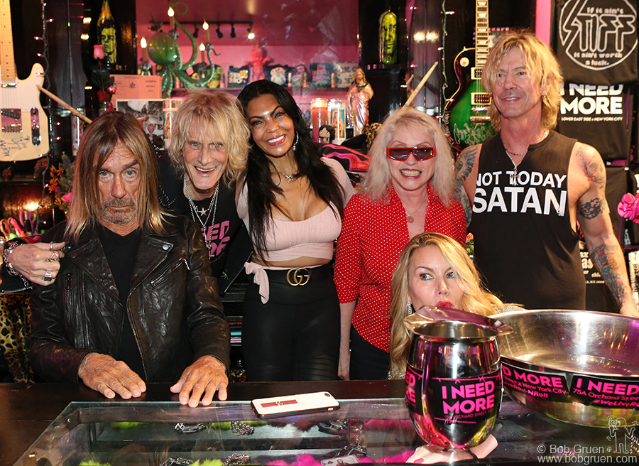"""Feb 24 - NYC - (L-R) Iggy Pop, Jimmy Webb, Iggy's wife Nina Alu, Debbie Harry, Susan Holmes and her husband Duff McKagen of Guns 'N Roses, at Jimmy's store """"I Need More"""",  where Iggy and Debbie pressed their hands and feet into concrete squares on the floor of the store for Jimmy. Very sadly Jimmy passed away in April from cancer but this was a great last party. RIP Jimmy..."""