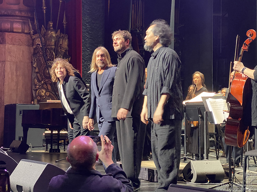 March 6 - NYC - (L-R) Jane Birken, Iggy Pop, Philippe Lerichomme and Nobuyuki Nakajima performed the songs of Serge Gainsborough with a full orchestra at the Beacon Theatre.
