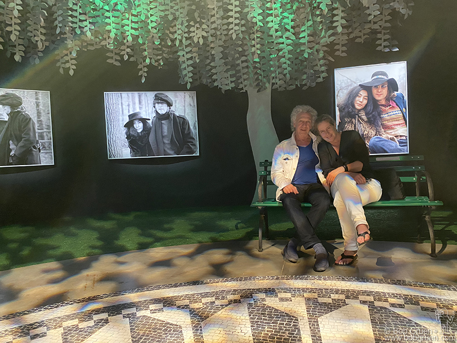 """March 15 - Sao Paulo - Me and Elizabeth sitting in the Central Park room of the """"John Lennon En Nova York Por Bob Gruen"""" exhibit at the Museum of Image and Sound in Sao Paulo, Brazil."""